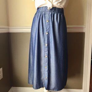 🍁Denim like flowy midi skirt